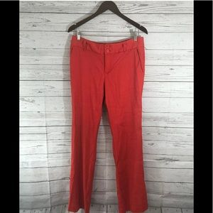Anthropologie Elevenses Orange Linen Blend Pants 8